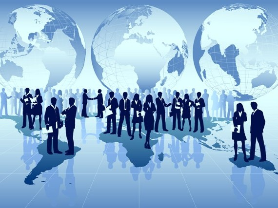 business men conducting global